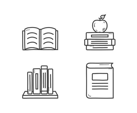 Books icons, hand drawn doodle style, open and closed books, vector eps10 illustration
