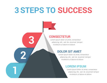 3 Steps to success, infographic template, leadership or motivation concept, vector eps10 illustration 向量圖像