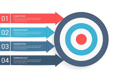 4 Steps to your goal concept, infographic template with 4 arrows with text and numbers, vector eps10 illustration