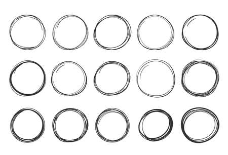 Set of handdrawn doodle circles, round shapes and objects, vector eps10 illustration