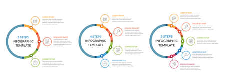 Three infographic templates - 3, 4 and 5 steps, diagrams with icons and text, vector eps10 illustration