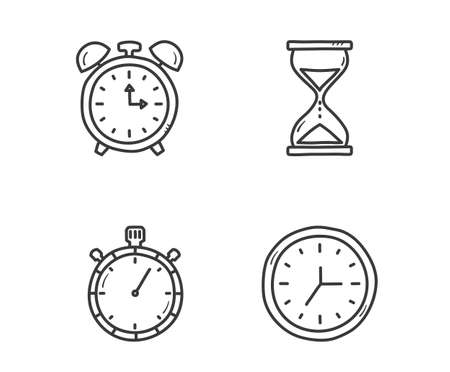 Clock and time icons - hand drawn style, vector eps10 illustration