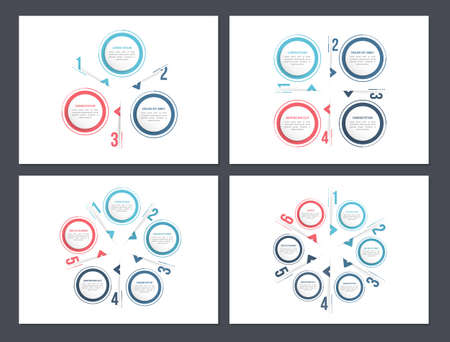 Four circle diagram templates - 3, 4, 5 and 6 elements, infographic templates, vector eps10 illustration 向量圖像