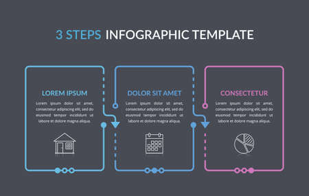 Infographic template with three elements with place for your text and icons, workflow, process chart, steps or options, vector eps10 illustration 向量圖像