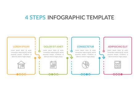 Infographic template with four elements with place for your text and icons, workflow, process chart, steps or options, vector eps10 illustration