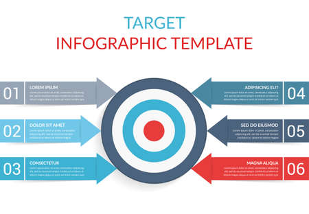 6 Steps to your goal concept, infographic template with target with 6 arrows with text and numbers, vector eps10 illustration