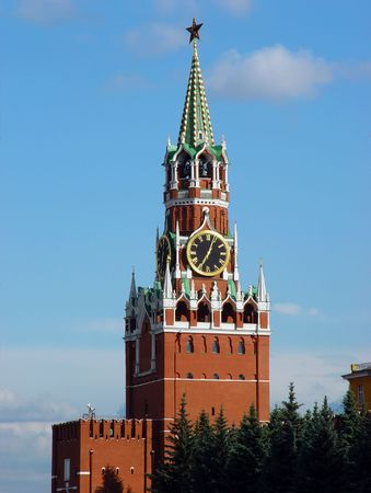 The Spasskaya Tower is the main tower with a through-passage on the eastern wall of the Moscow Kremlin (Russia), which overlooks the Red Square.