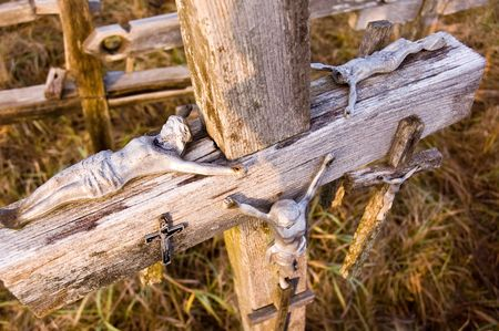 Crosses at the Hill of Crosses, located 12 kilometers north of the city of Siauliai, Lithuania.