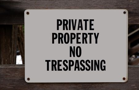 private information: Private Property No Trespassing Stock Photo
