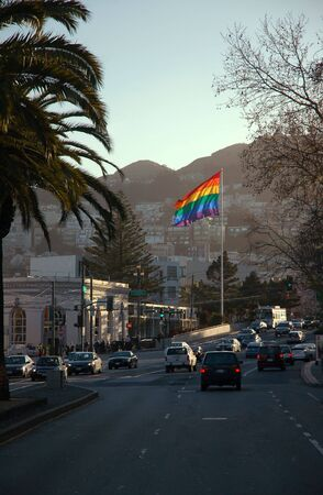 The rainbow flag at the corner of Market, Castro, and 17th Street. San Francisco, CA, USA.