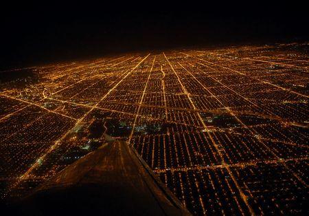 비행기에서 시카고의 전망입니다.