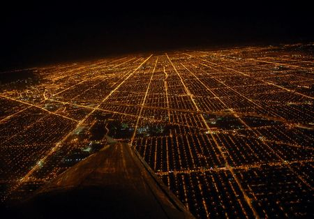view from below: View of Chicago from the plane.