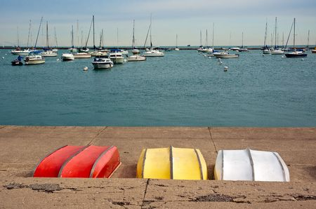 topsyturvy: Marina in Chicago. View from the promenade. Stock Photo