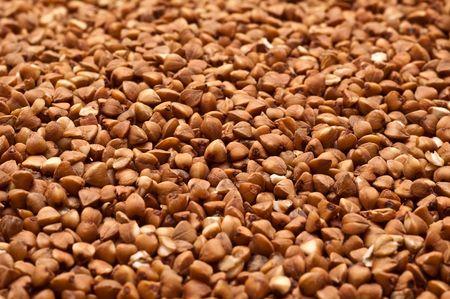Full frame close up of buckwheat grains.  Stock Photo