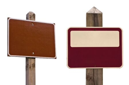 Two isolated signs with two clipping paths, over white. Standard sign you see in woods, parks or trails. Add any text to it. Stock Photo