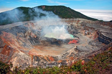 active volcano: Smoking crater of Poas volcano, Costa Rica. Stock Photo