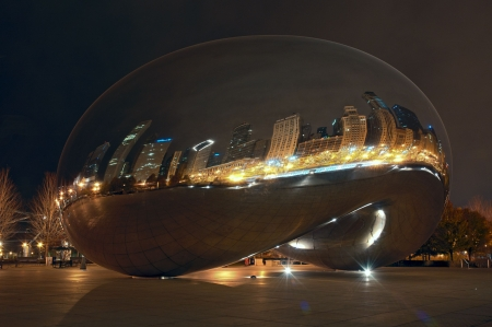 Cloud Gate in the Millennium Park, Chicago, USA. No people. HDR.