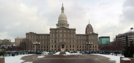 Huge 19 megapixel panorama of the back of the Lansing capitol building. Several high resolution vertical shots merged into a big horizontal one.