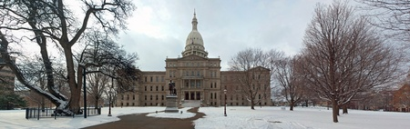 Huge 33 megapixel panorama of the front of the Lansing capitol building. Several high resolution vertical shots merged into a big horizontal one. Stock Photo