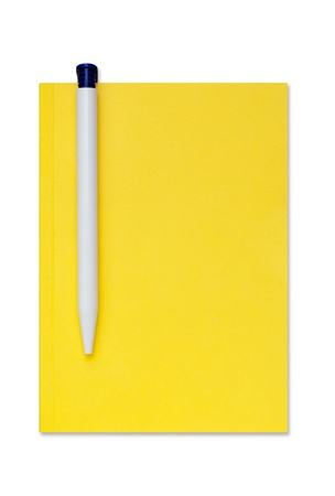 Isolated notebook with a pen