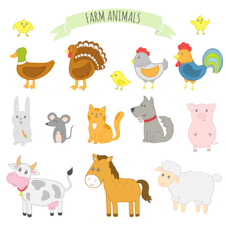 illustration of farm domestic animals for kids
