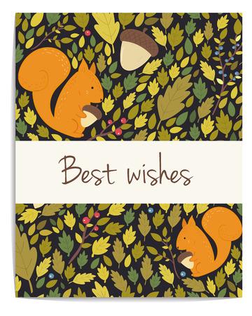 Carte de forêt avec des glands, des feuilles et l'écureuil. Meilleurs voeux. Fond sombre Banque d'images - 43712174