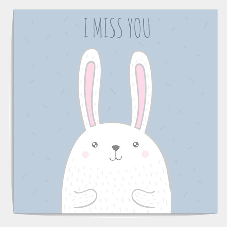 rabbit cartoon: Inspirational romantic and love quote card. Cute hand drawn bunny with text.