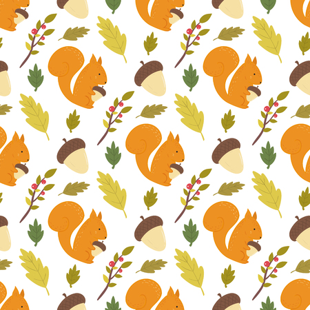Seamless forest pattern with leaves, berries, acorns and squirrels. Light background.