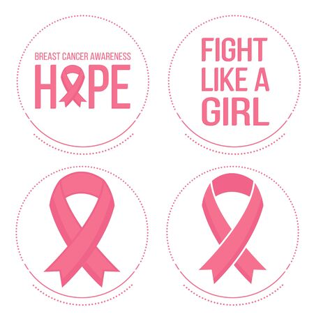 cancer ribbons: Vector set of pink ribbons symbols and badges for breast cancer awareness