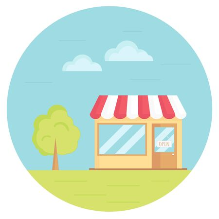 sky grass: Vector illustration of grocery store with tree, sky, grass. Flat circle icon