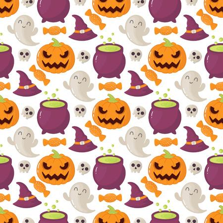 halloween pattern: Seamless halloween pattern with skulls and pumpkins