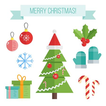 mittens: Set of christmas icons. Vector flat elements-balls, snowflakes, candy, mittens, christmas tree, santas hat and mistletoe Illustration