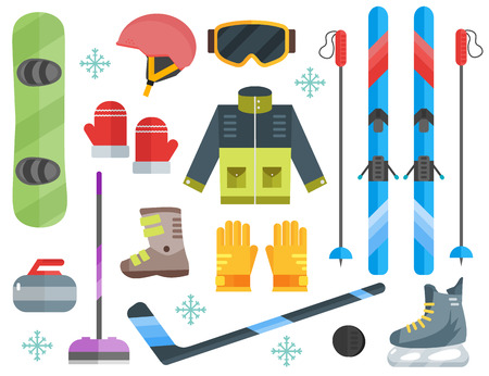 Vector illustration of winter sports. Winter sports equipment set- ski, curling, skates, clothes, helmet and goggles. Extreme sport equipment set. Isolated flat elements. Flat design