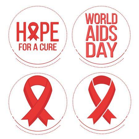 relaciones sexuales: Vector conjunto de símbolos e insignias cintas para el mundo de rojo el día 1 de diciembre de ayuda