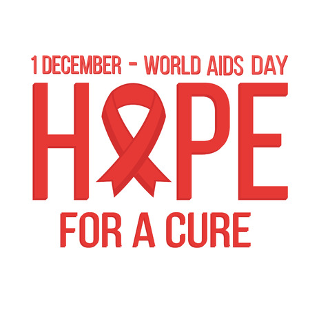 relaciones sexuales: World aids day 1 december card. Hope with red ribbon. Vector illustration