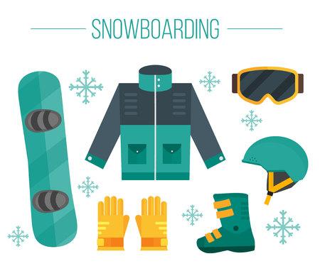 Wektor zestaw elementów snowboardu. Sprzęt snowboardowy - kurtka, buty, kask, okulary, rękawiczki i talię. Izolowane płaski icons.White tła. Odzież do snowboardu. Ilustracji ekstremalnych sportu. Ilustracje wektorowe