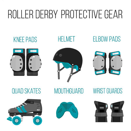 knee boots: Vector set of roller derby protective gear.Skating theme icons. Skating flat illustration of helmet, knee pads, elbow pads, mouthguard, wrist guard and quad roller skate. Isolated sport skating icons Illustration
