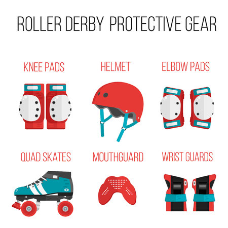 wheel guard: Vector set of roller derby protective gear.Skating theme icons. Skating flat illustration of helmet, knee pads, elbow pads, mouthguard, wrist guard and quad roller skate. Isolated sport skating icons Illustration