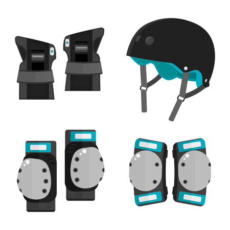 knee pads: Vector set of roller skating and skateboarding protective gear.Skating protective gear icons. Skateboarding protective gear icons. Wrist guards, helmet, knee pads, elbow pads. Isolated sport elements Illustration