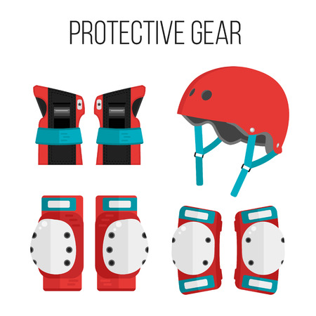 Vector set of roller skating and skateboarding protective gear.Skating protective gear icons. Skateboarding protective gear icons. Wrist guards, helmet, knee pads, elbow pads. Isolated sport elements Illustration