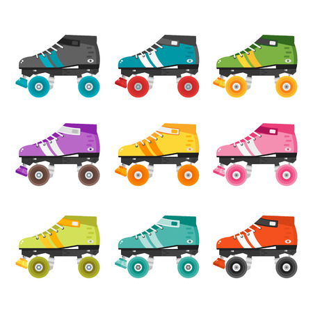 quad: Vector set of quad roller skates. Illustration with colorful roller derby skates. Skating flat icons isolated on white background. Collection of retro roller skates.