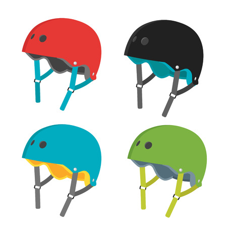 rollerblade: Vector set of helmet icons. Flat helmets isolated on white background. Helmets for extreme sports- roller skating, skateboarding and biking. Flat illustration of protective gear. Illustration