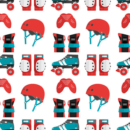 knee pads: Vector seamless pattern with roller derby protective gear. Skating pattern with helmet, knee pads, mouthguard, wrist guard and quad roller skate. Skating flat background. Roller skating wallpaper Illustration