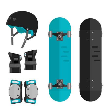Vector set of roller skating and skateboarding protective gear. Skating protective gear icons. Flat skateboard illustration. Wrist guards, helmet, knee pads, elbow pads. Skateboard and protective. Illustration
