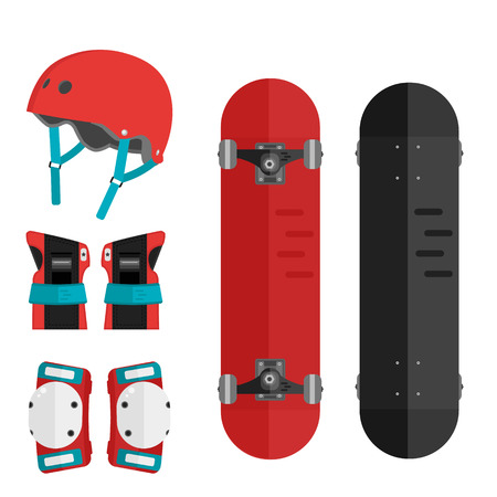 elbow pads: Vector set of roller skating and skateboarding protective gear. Skating protective gear icons. Flat skateboard illustration. Wrist guards, helmet, knee pads, elbow pads. Skateboard and protective. Illustration