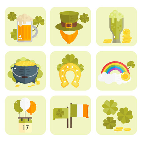irish symbols: St. Patricks Day vector illustration. Set of icons for St.Patricks day. Irish symbols in flat style. Set of cartoon Irish elements- beer, shamrock, rainbow, cauldron with golden coins, beard, hat