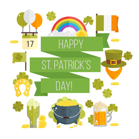 irish symbols: St. Patricks Day vector illustration. Poster for St.Patricks day. Irish symbols in flat style. Set of cartoon Irish elements- beer, shamrock, rainbow, cauldron with golden coins, beard, hat, ribbon Illustration