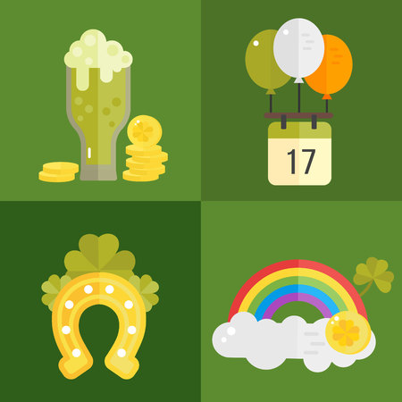 St. Patricks Day vector illustration. Set of icons for St.Patricks day. Irish symbols in flat style. Set of cartoon Irish elements- green beer, shamrock, horseshoe, rainbow, golden coins, balloons