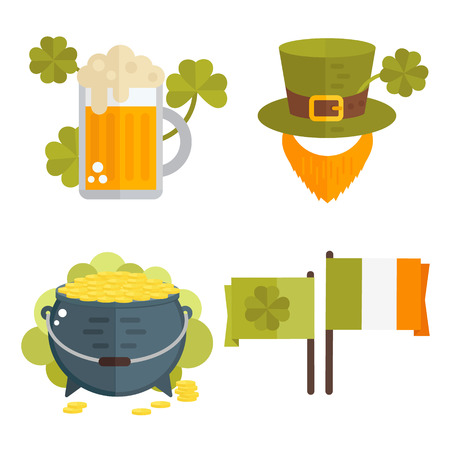 St. Patricks Day vector illustration.Set of icons for St.Patricks day. Irish symbols in flat style. Set of cartoon Irish elements-beer,shamrock, cauldron, golden coins, leprechauns beard, hat, flag Illustration