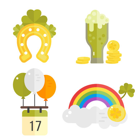 irish symbols: St. Patricks Day vector illustration. Set of icons for St.Patricks day. Irish symbols in flat style. Set of cartoon Irish elements- green beer, shamrock, horseshoe, rainbow, golden coins, balloons